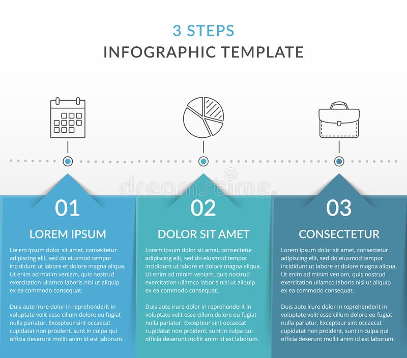 Infographic Template with 3 Steps. Workflow, process chart vector illustration