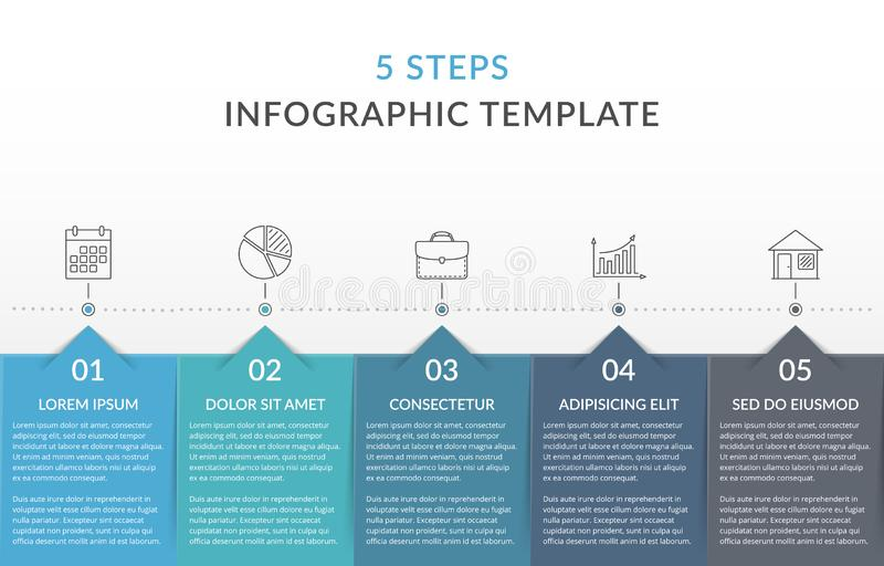 Infographic Template with 5 Steps. Workflow, process chart vector illustration