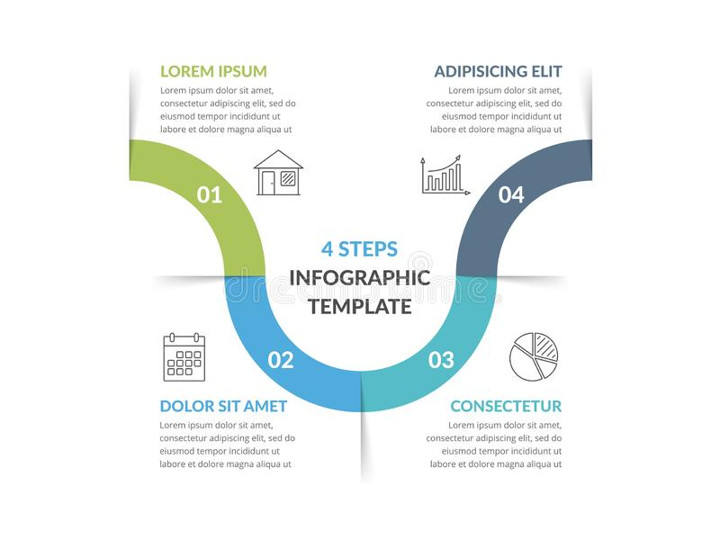 Infographic Template with 4 Steps. Workflow, process chart vector illustration