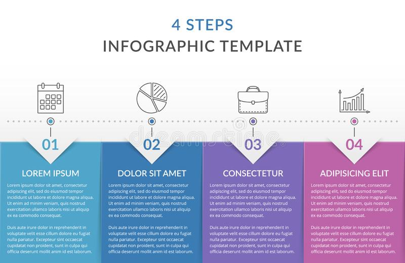Infographic Template with 4 Steps. Workflow, process chart stock illustration