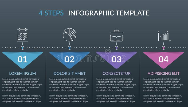 Infographic Template with 4 Steps. Workflow, process chart, vector eps10 illustration royalty free illustration