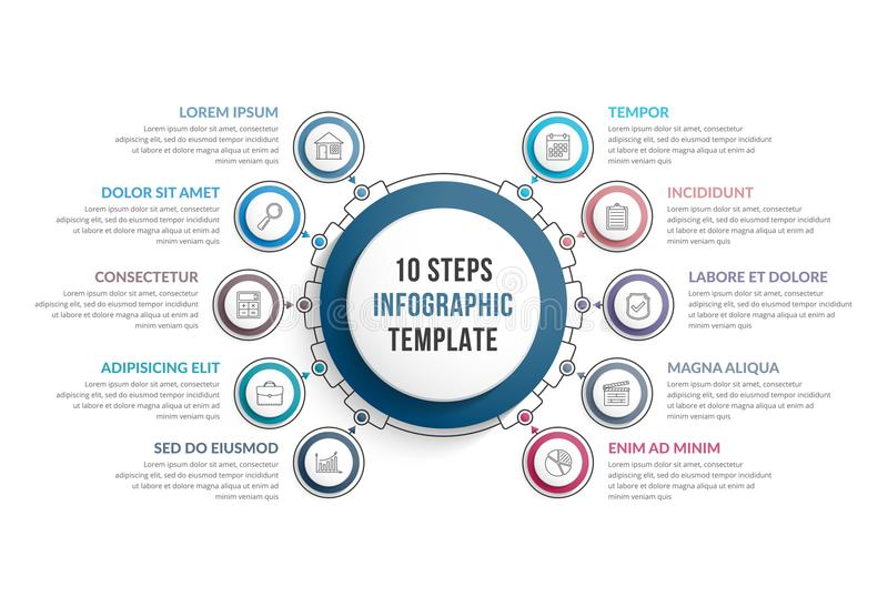 Infographic Template with Ten Steps. Or options, workflow, process diagram vector illustration