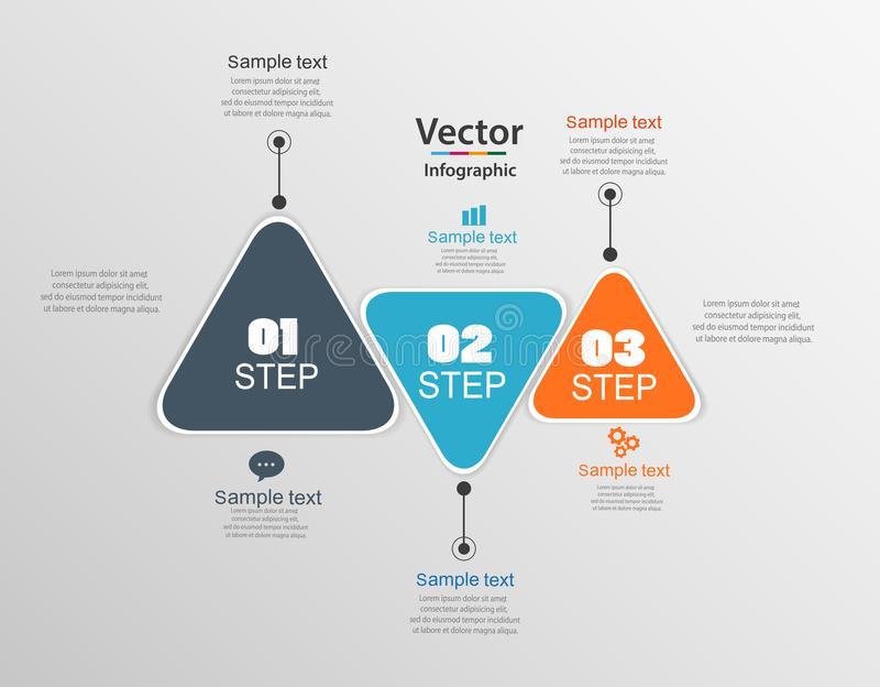 Infographic template of triangular elements royalty free illustration