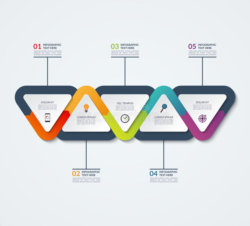 Infographic template of triangular elements vector illustration