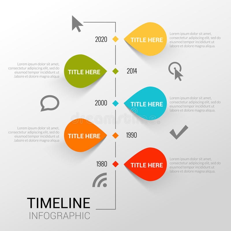 Infographic template witn timeline report, points and icons stock illustration