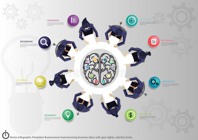 Vector Infographic Templates Businessman Brainstorming Business ...