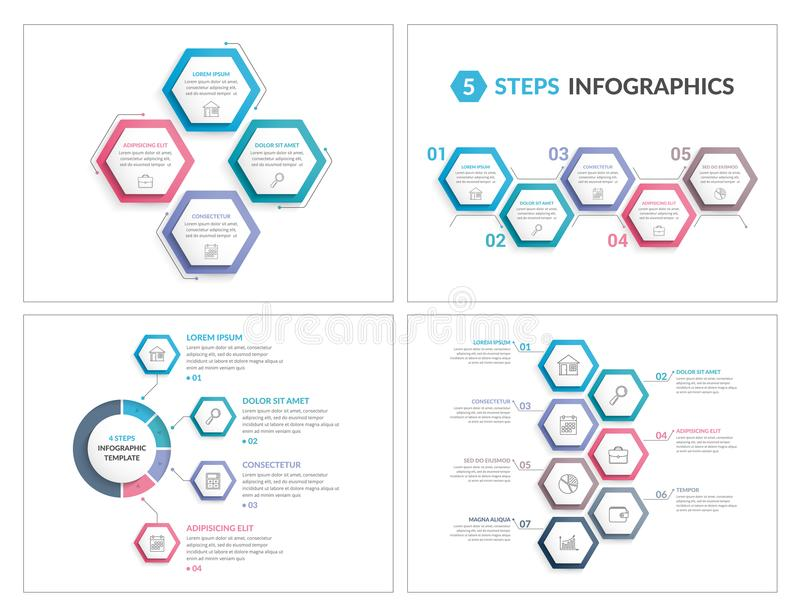 Infographic Templates with Hexagons royalty free illustration