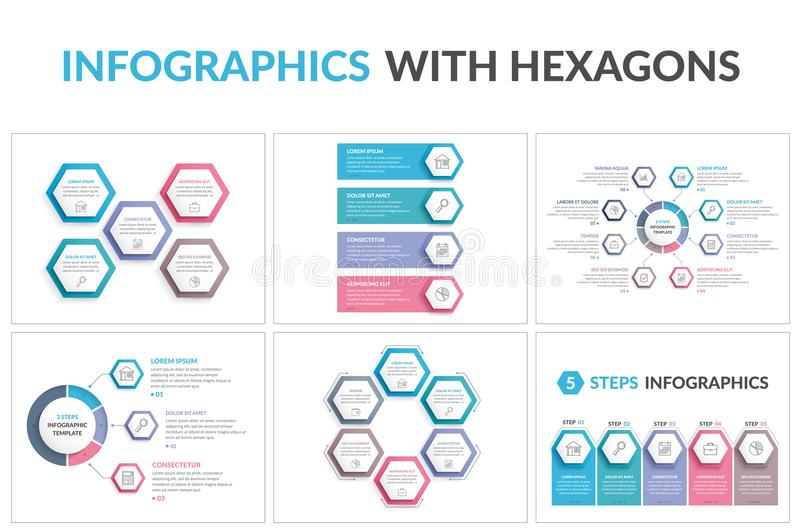 Infographic Templates with Hexagons. Six infographic templates with hexagons, workflow or process diagrams stock illustration