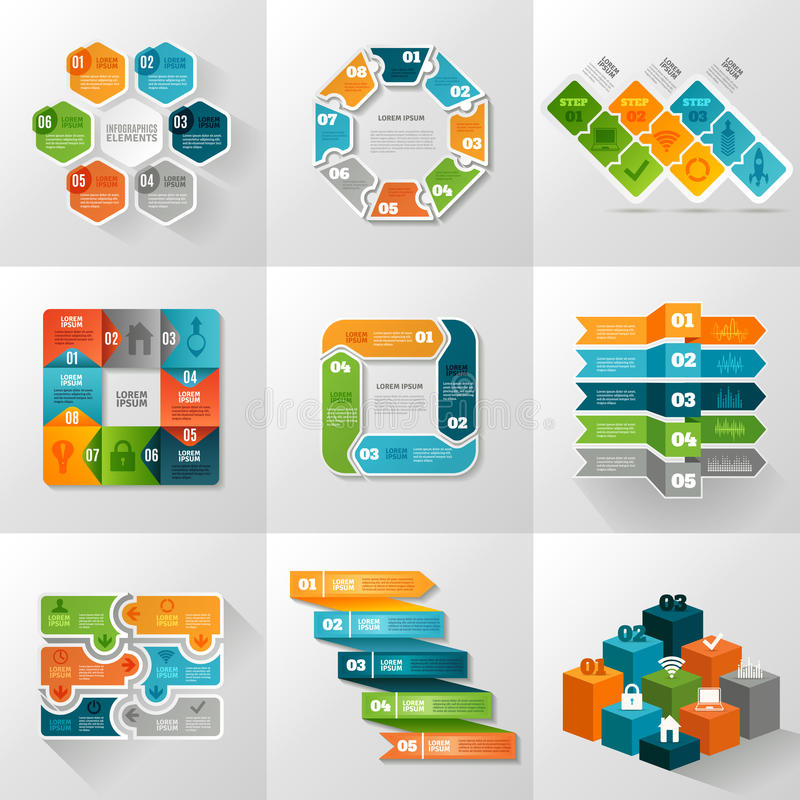 Infographic Templates Icons Set. With different diagrams and charts flat isolated vector illustration royalty free illustration