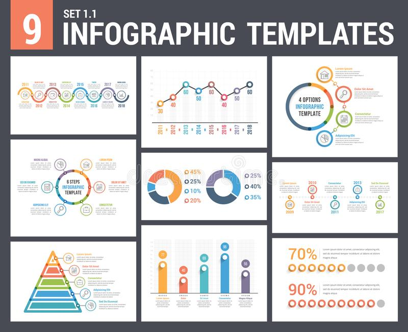9 Infographic Templates vector illustration
