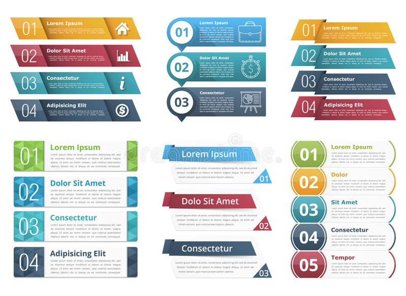 Infographic Templates with Numbers. Set of infographic templates with numbers and text, business infographics elements set royalty free illustration