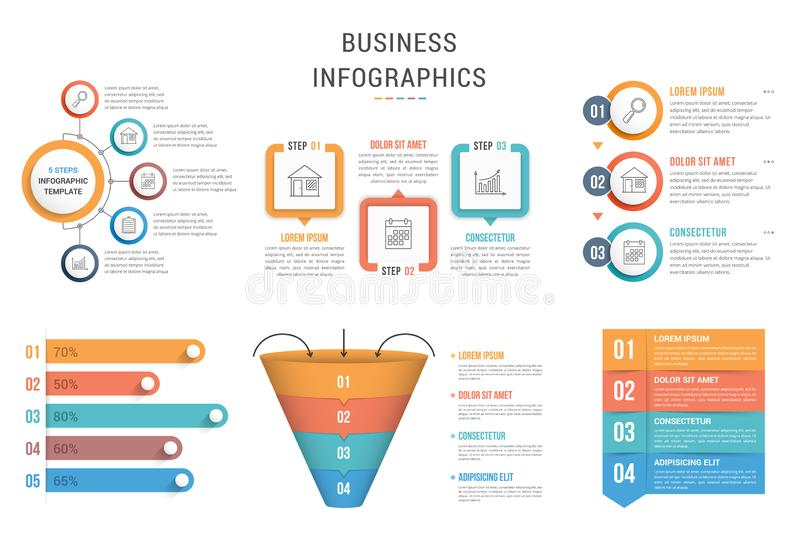 Infographic Templates. Six infographic templates for web, business, presentations - steps, options, funnel diagram, bar graph royalty free illustration