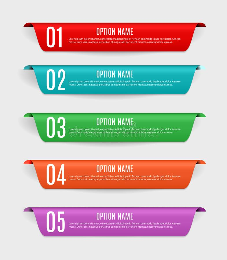 Free Infographic Templates With Color Labels, Steps And Options For Business Vector Illustration Stock Photos - 132288783