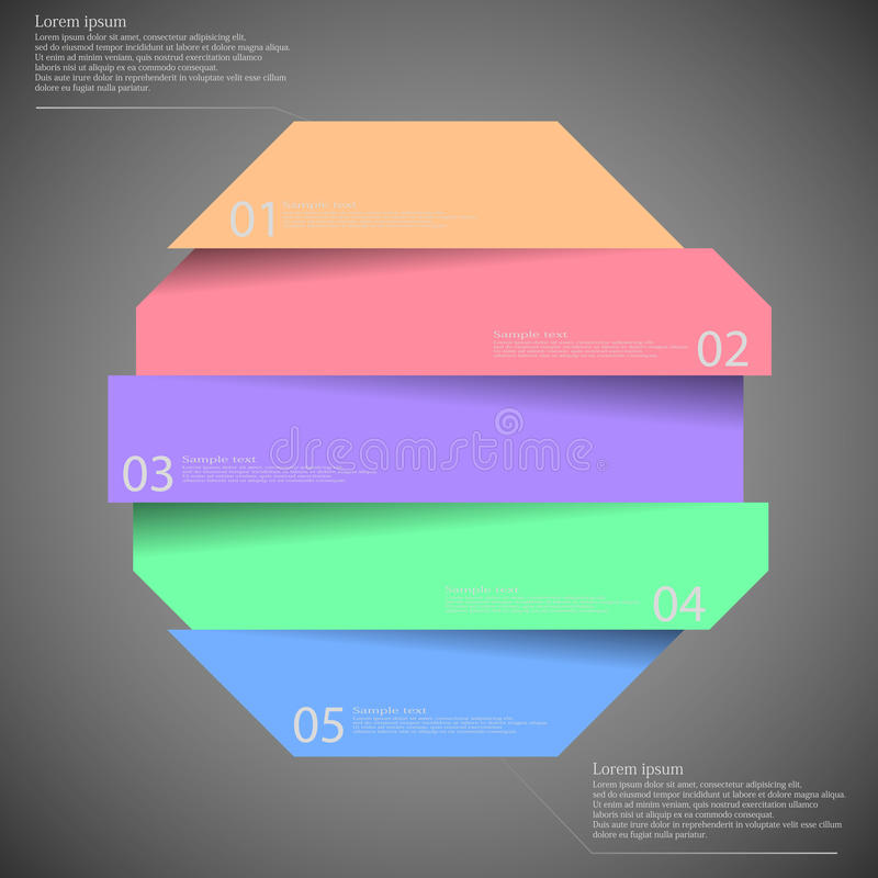 Infographic templete με το μοτίβο του οκταγώνου που διαιρείται σε πέντε μέρη ελεύθερη απεικόνιση δικαιώματος