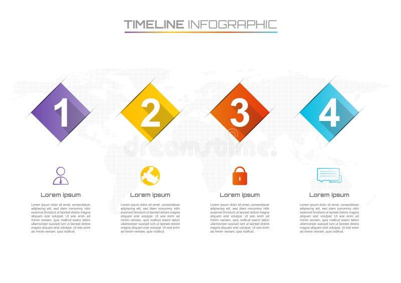 Infographic timeline för affär på vit bakgrund några beståndsdelar royaltyfri illustrationer