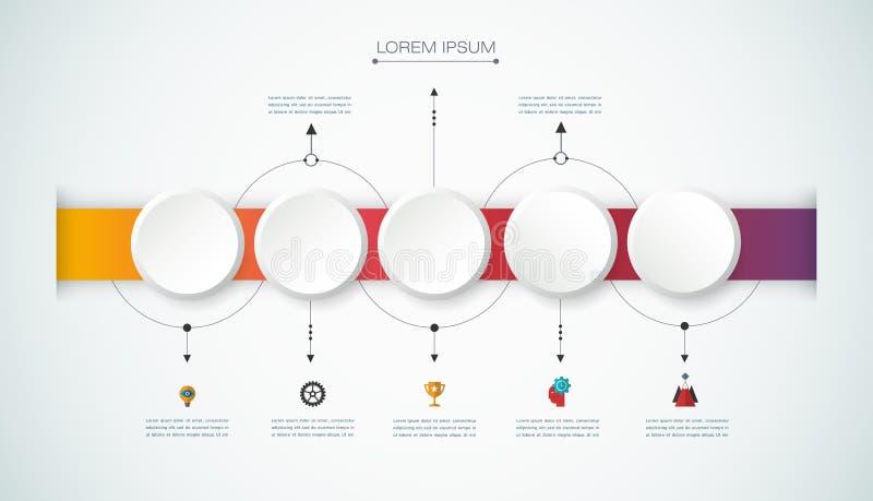 Infographic timeline för vektor med etiketten för papper 3D, inbyggd cirkelbakgrund royaltyfri illustrationer