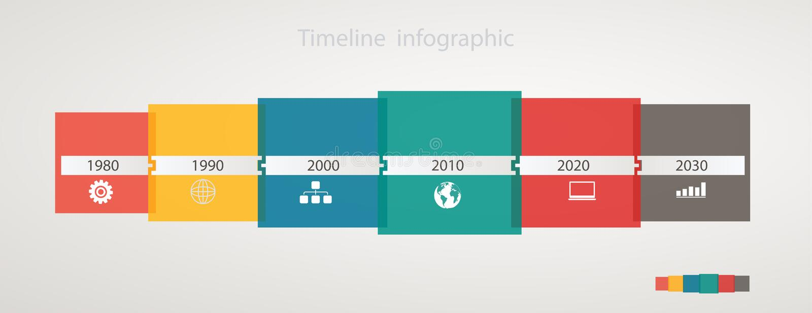 Infographic timeline with icons, step by step anual structure vector illustration