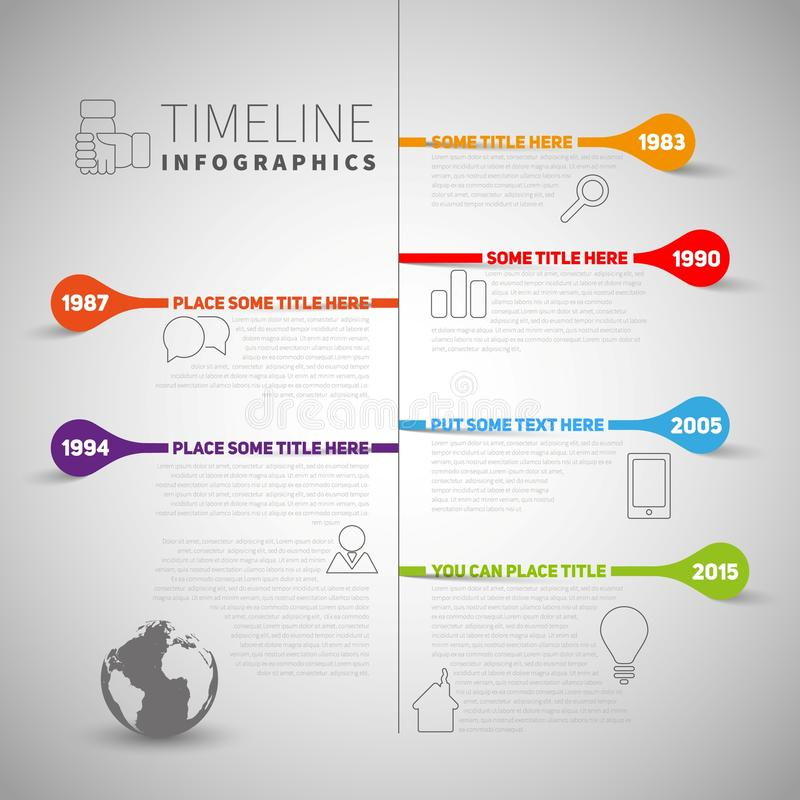 Infographic timeline report template with company or life milestones, icons, years and color buttons, vector style royalty free illustration
