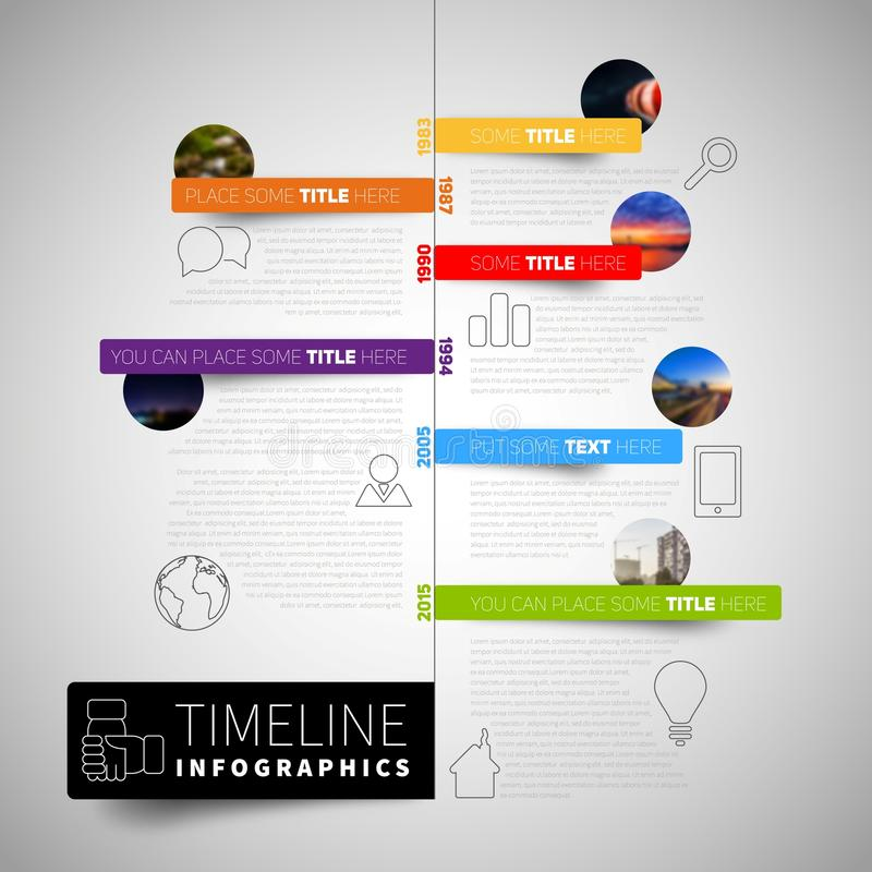 Infographic timeline report template with icons, labels and blur stock illustration