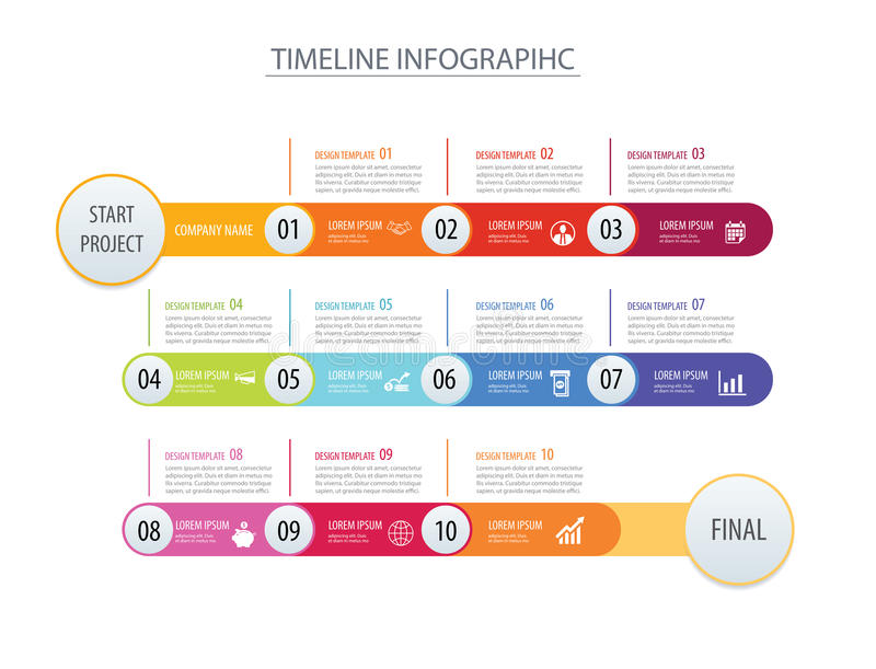 Infographic timeline template business concept arrows.Vector can. Be used for workflow layout, diagram, number step up options, web design royalty free illustration