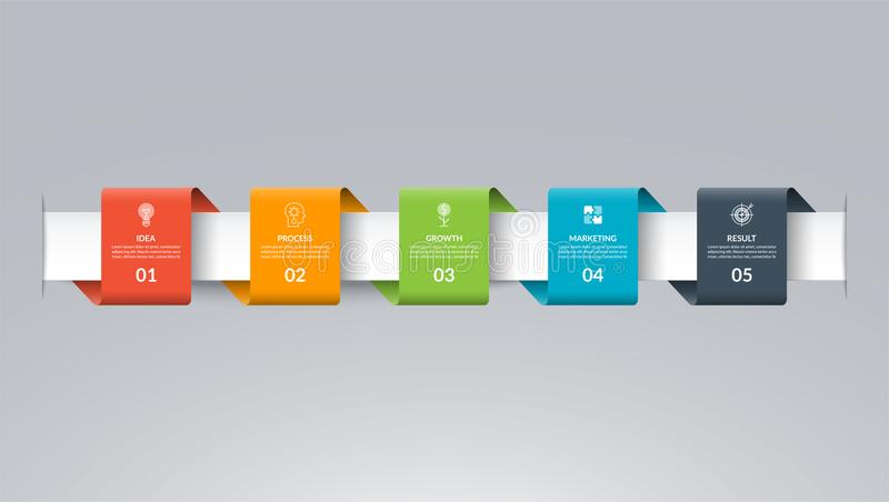 Infographic timeline template in the form of colored paper tapes. Vector banner with 5 options, steps, parts. royalty free illustration