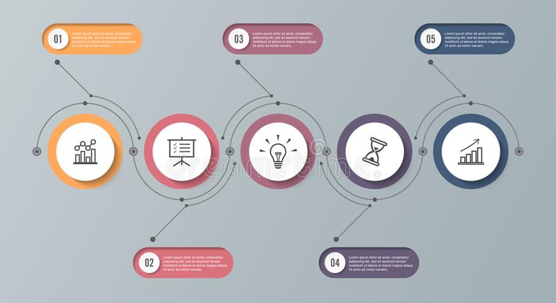 Infographic timeline template with 5 options. Can be used as a chart, diagram, graph for business presentation, annual report, bro stock illustration