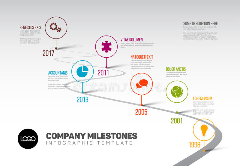 infographic timeline template with pointers stock vector