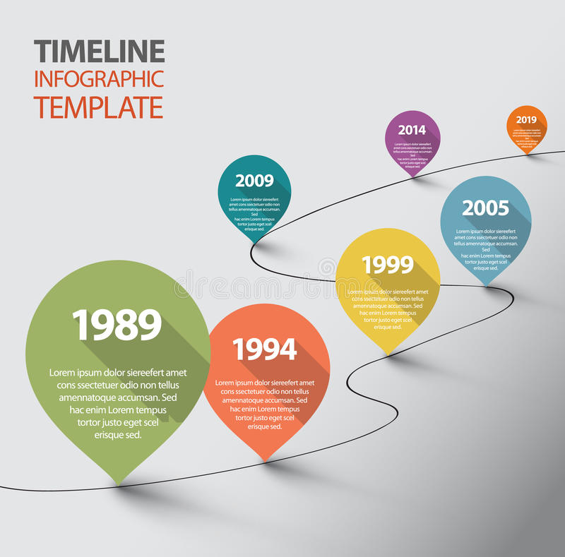 Free Infographic Timeline Template With Pointers Stock Photography - 41184972