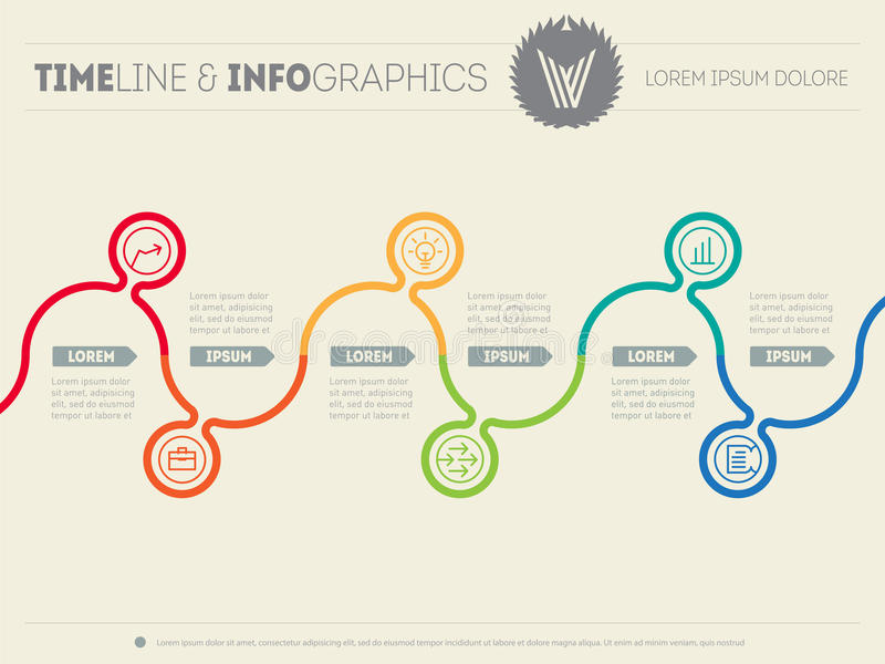 Infographic timeline. Time line of tendencies and trends. Vector. Web template with icons and design elements on vector illustration