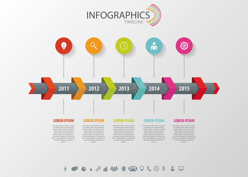 Infographic Timeline, vektordesignmall vektor illustrationer