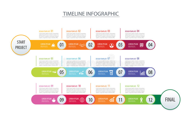 Infographic timeline 1 year template business concept arrows.Vector can be used for workflow layout, diagram, number step up royalty free illustration