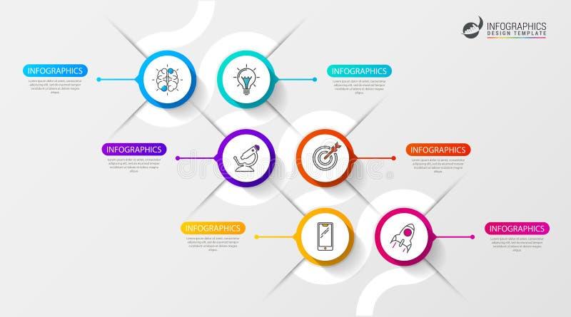 Infographic timelinemall med sex alternativ vektor royaltyfri illustrationer