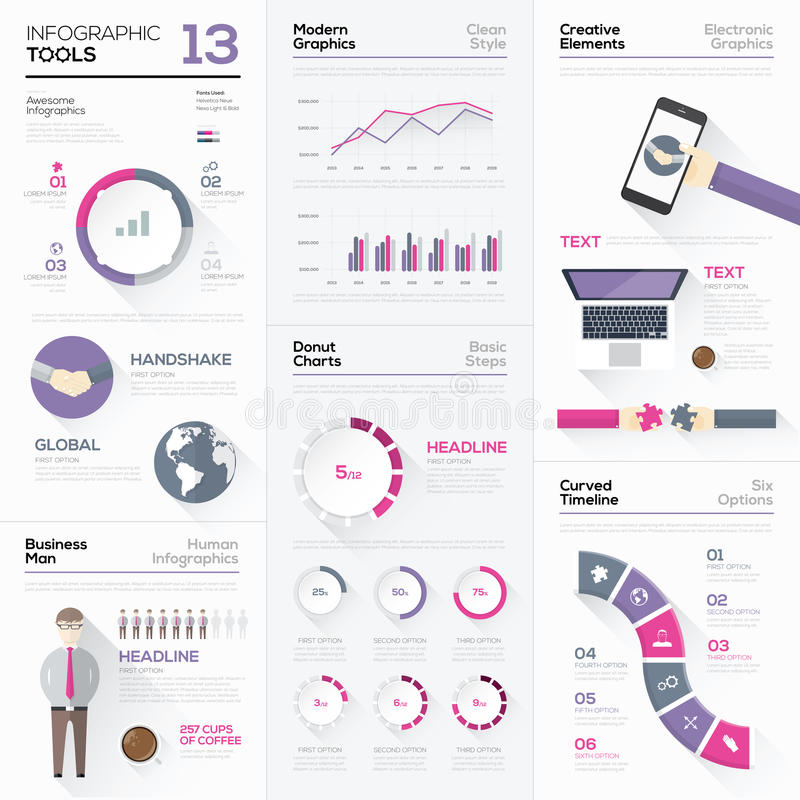 Infographic tools collection and vector graphic elements stock illustration
