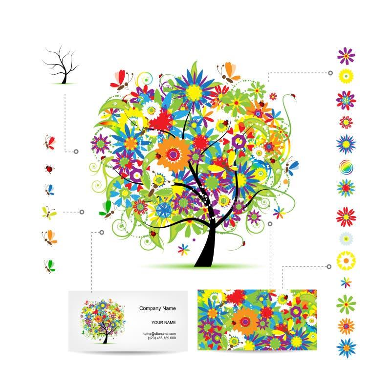 Infographic träd med roliga fåglar finansiell serie för affärskort stock illustrationer