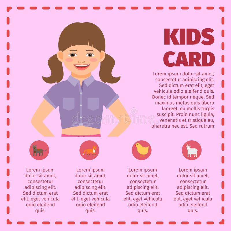Infographic trädgårds- kort för rosa ungar stock illustrationer