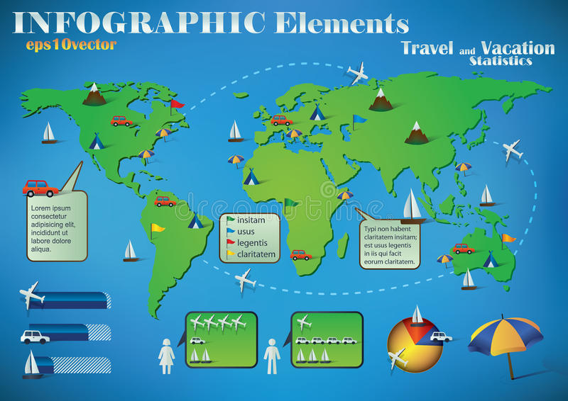 Infographic Travel Elements. On a green world map for air, road and sea transport and travel destinations royalty free illustration