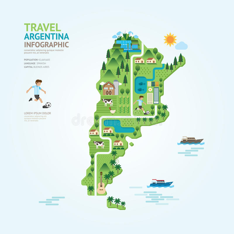 Infographic travel and landmark argentina map shape template design. country navigator concept vector illustration / graphic or w. Eb design layout vector illustration