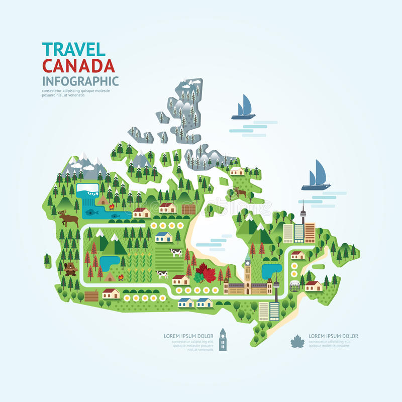 Infographic travel and landmark canada map shape template design. Country navigator concept vector illustration / graphic or web design layout royalty free illustration