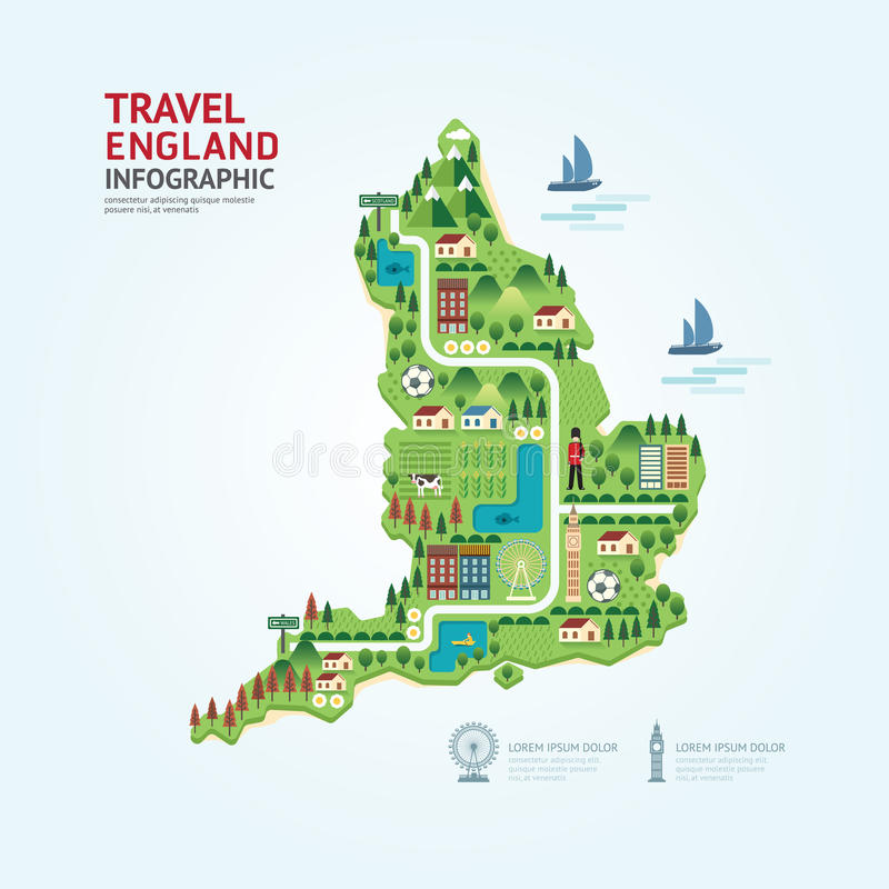 Infographic travel and landmark England,United Kingdom map shape stock illustration