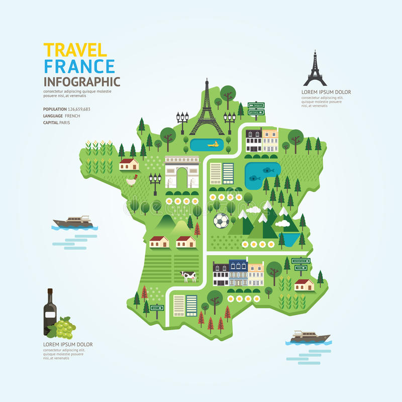Infographic travel and landmark france map shape template design. Country navigator concept vector illustration / graphic or web design layout royalty free illustration