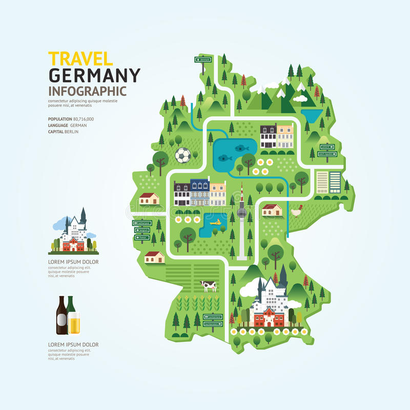 Infographic travel and landmark germany map shape template design. country navigator concept vector illustration / graphic or web. Design layout stock illustration