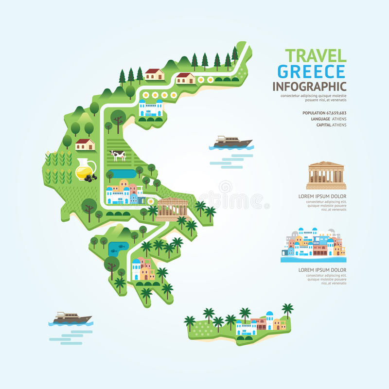 Infographic travel and landmark greece map shape template design. Country navigator concept vector illustration / graphic or web design layout stock illustration
