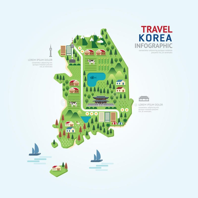 Infographic travel and landmark korea map shape template design. Country navigator concept vector illustration / graphic or web design layout stock illustration