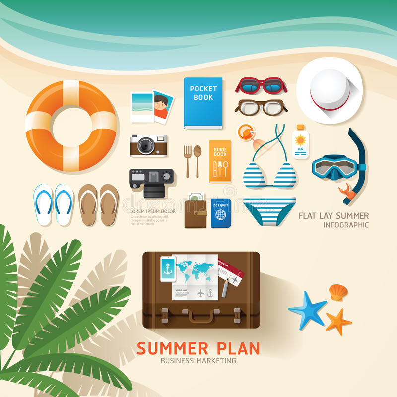 Infographic travel planning a summer vacation business flat lay. Idea. Vector illustration hipster concept. can be used for layout, advertising and web design stock illustration