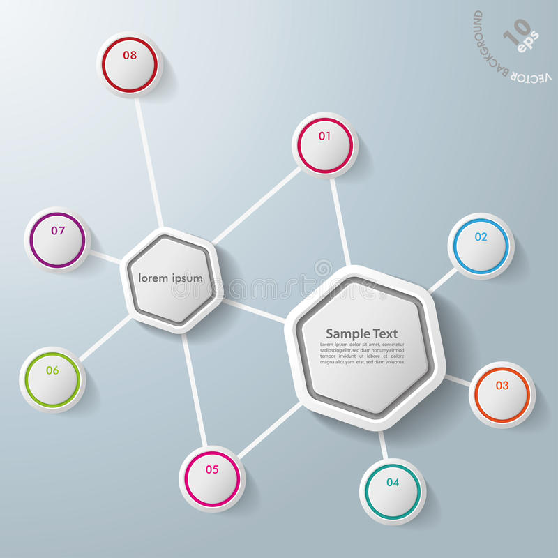 Infographic Two Hexagons Eight Options stock illustration