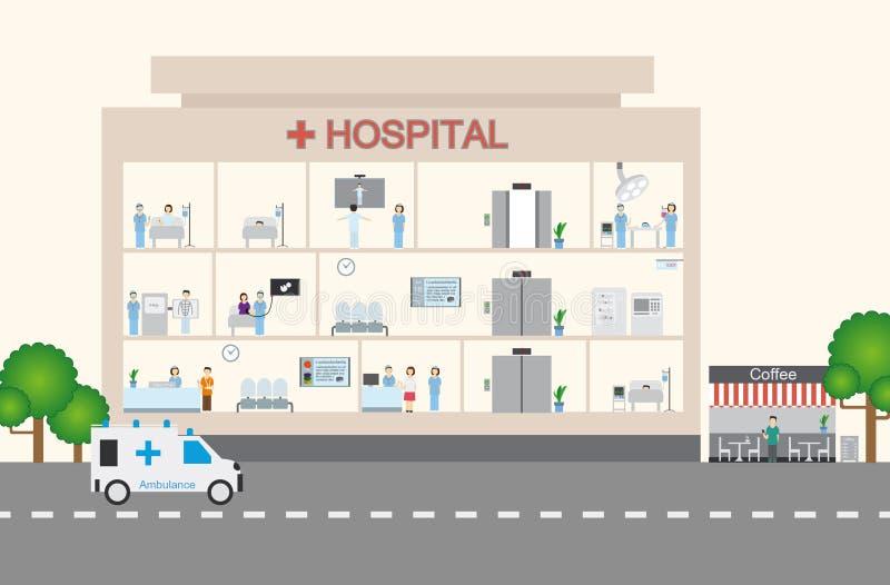 Infographic u. flaches Design des Krankenhauses stock abbildung