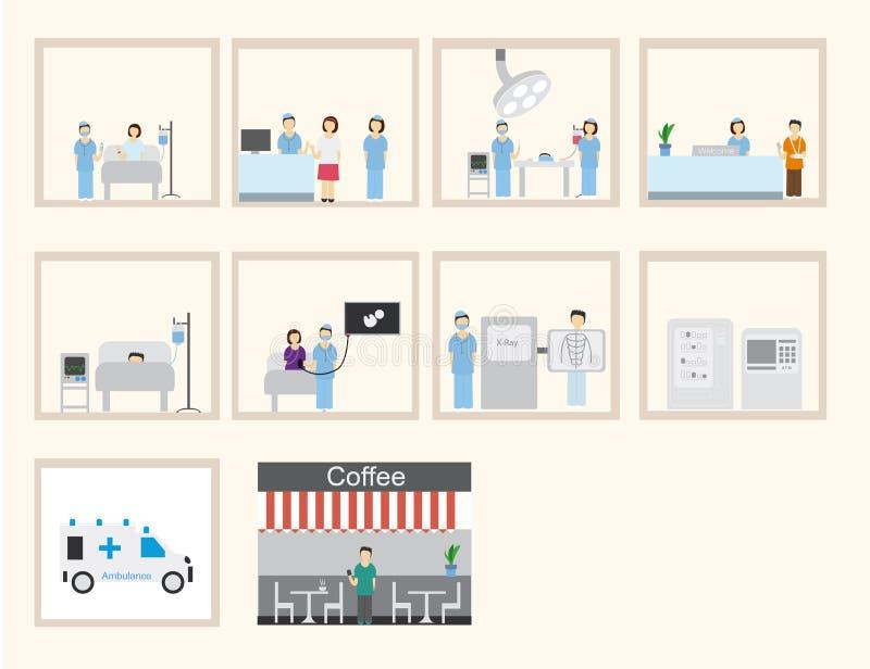 Infographic u. flaches Design des Krankenhauses lizenzfreie abbildung