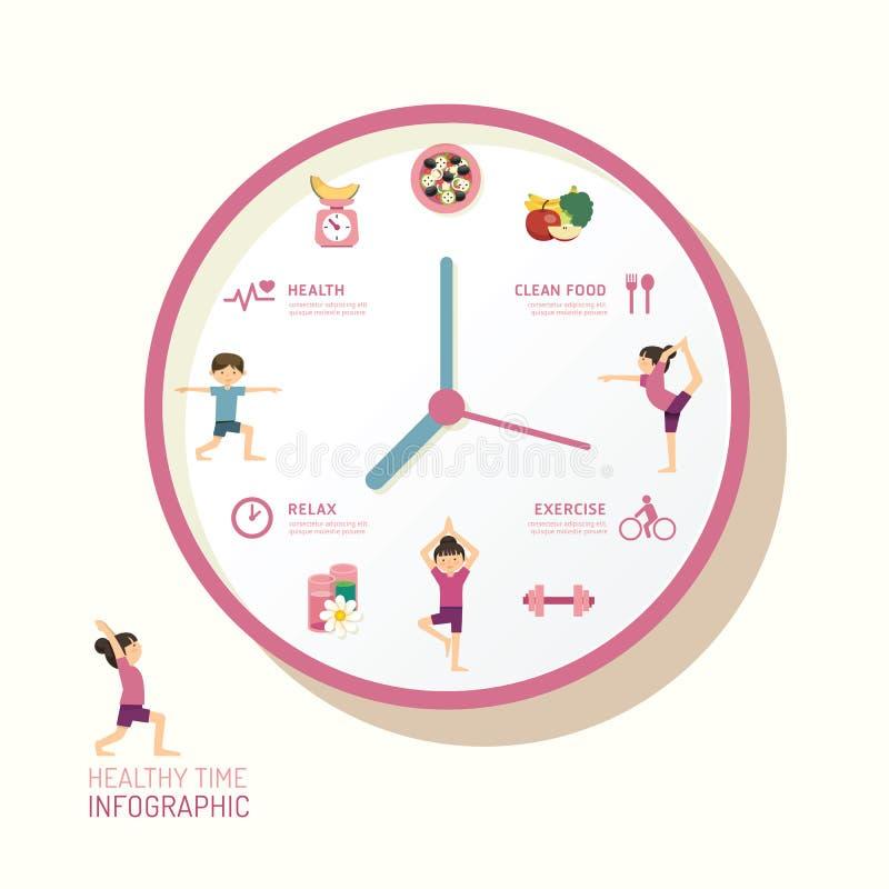 Infographic-Uhr und flache Ikonenidee Auch im corel abgehobenen Betrag heal vektor abbildung