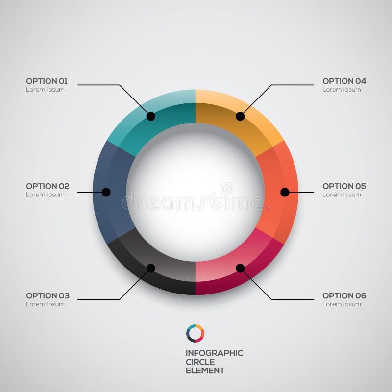 Infographic ui gestileerd bedrijfscirkeldiagram en vectoropties royalty-vrije illustratie