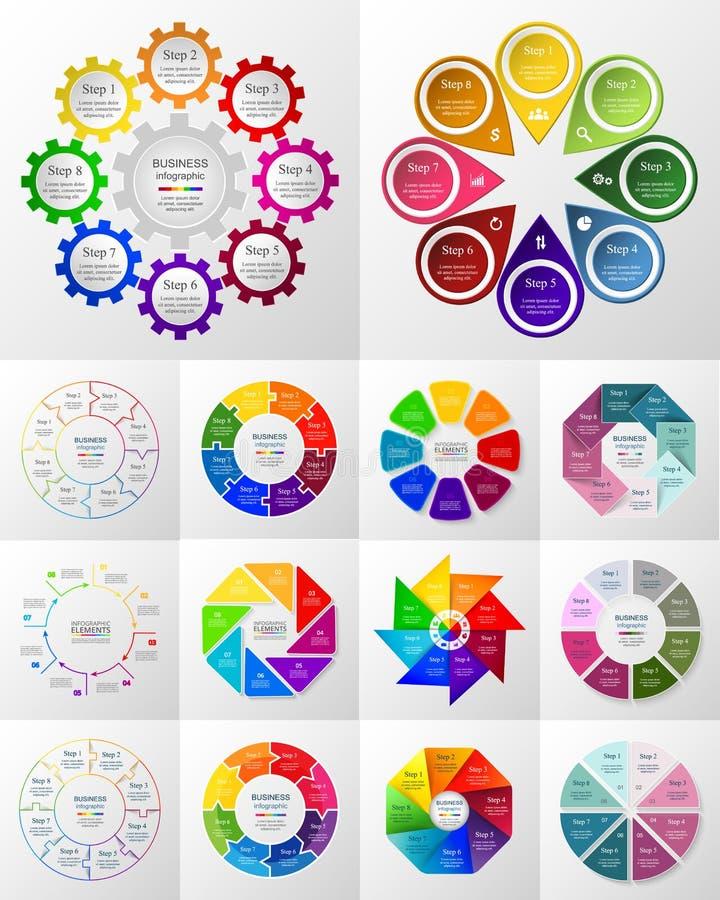 Infographic uppsättning för vektorcirkel royaltyfri illustrationer